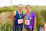 John and Agnes Godley from Kilmoyley just over the finish line at the Banna 5 and 10k race on Sunday morning.