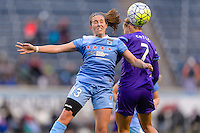 Bridgeview, IL, USA - Sunday, May 1, 2016: Chicago Red Stars midfielder Amanda Da Costa (13) and Orlando Pride defender Stephanie Catley (7) during a regular season National Women's Soccer League match between the Chicago Red Stars and the Orlando Pride at Toyota Park. Chicago won 1-0.