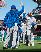 New York Mets left fielder Yoenis Cespedes (52) celebrates with his teammates following the game against the Washington Nationals at Nationals Park in Washington, D.C. on Thursday, April 5, 2018.  The Mets won the game 8-2.<br /> Credit: Ron Sachs / CNP<br /> (RESTRICTION: NO New York or New Jersey Newspapers or newspapers within a 75 mile radius of New York City)