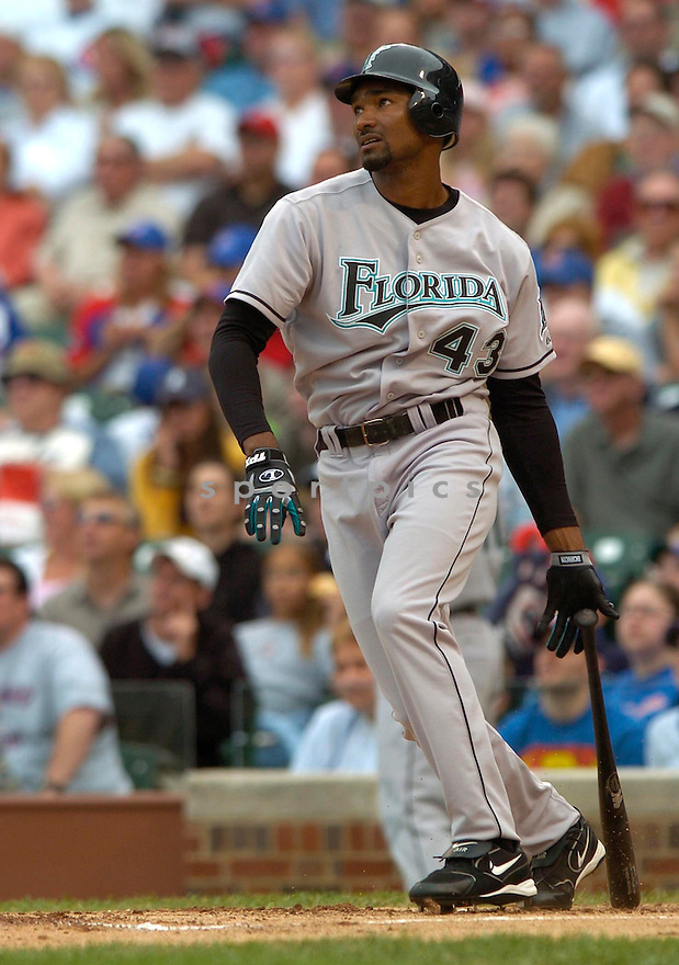 Juan Encarnacion, of the Florida Marlins in action against the Chicago Cubs on 6/15/05...Marlins win 2-0...David Durochik / SportPics