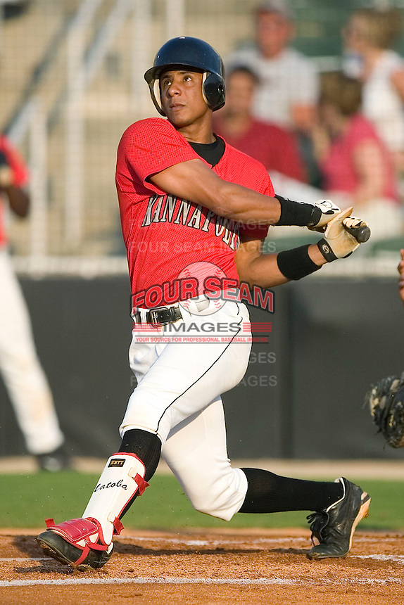 Kannapolis right fielder Anderson Gomes follows through on his swing versus the Augusta Green Jackets at Fieldcrest Cannon Stadium in Kannapolis, NC, Saturday, June 17, 2006.