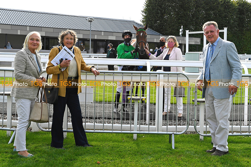 Connections of The Radcliffe & Co Novice Median Auction Stakes (Div 1) Winner, Tornadic ridden by Charles Bishop and trained by Eve Johnson Houghton  outside the Winners enclosure during Horse Racing at Salisbury Racecourse on 11th September 2020