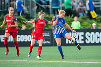 Boston, MA - Sunday September 10, 2017: Meghan Klingenberg and Natasha Dowie during a regular season National Women's Soccer League (NWSL) match between the Boston Breakers and Portland Thorns FC at Jordan Field.
