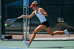 SURPRISE, AZ - MAY 11: Carolin Schmidt along with teammate Zuza Maciejewska of the Barry Buccaneers returns a ball against Jordana Lujan and Samantha Echevarria of the West Florida Argonauts during the Division II Women's Tennis Championship held at the Surprise Tennis & Racquet Club on May 11, 2018 in Surprise, Arizona. (Photo by Jack Dempsey/NCAA Photos via Getty Images)