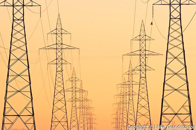 Electrical towers at sunrise<br /> Winnipeg<br /> Manitoba<br /> Canada