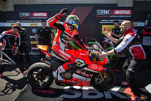 02.04.2016. Motorland, Aragon, Spain. World Championship Motul FIM of Superbikes. Chaz Davies #7, Ducati 1199 Panigale R rider of Superbike celebrates after the race  in the World Championship Motul FIM of Superbikes from the Circuito de Motorland.