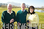 Tom Grant, Captain, Gerry Collins, President and Margaret Lanigan, lady captain, Beaufrt Golf Club, pictured their drive in at the course on Sunday, 14th February..NO FEE..NO FEE