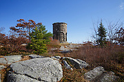 Mt. Battie Tower on the summit of Mt. Battie in Camden Hills State Park in Camden, Maine USA during the autumn months.