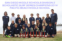San Diego CA, USA.  Monday, May 19th 2014:  Members of the Pacific Beach Middle School Surf Team (aka &quot;PB Locals&quot;) pose near Law Street in Pacific Beach for a group photo.  The team finished the season in first place in the San Diego Scholastic Surf Series Middle School Division 2 Contest beating out six other teams from across the county in five contests that were held during the school year.  From left to right, back-row; Mark Feighan (coach), Thomas Grigolite, Nicolas Campagna, Ciara Gray, Riley Thompson, Jake Halvin, Tyler Reed, Brad Palmer, Ronan Gray (coach).  2nd row, from left:  Matthew Ferries, Michael O'Leary, Andrew Feighan, Shelby Moore, Marley Hughes, Jesse Grigolite.  Front row, from left:  Piatt Pund, Ian Briski, Evan Sandler, Liam Stransky, Jack Patterson, Brian Fitzsimmons, Dusty Schraeder.  Trophies are for; 1st Place Overall Team Trophy, 1st Place Girls Short-board Team, 1st Place Girls Long-board Team, 2nd Place Body-board Team, 3rd Place Boys Short-board.<br /> Notable top-ten individual finishes were, Ciara Gray; 1st Place Overall Girls Longboard and 3rd Place Overall Girls Shortboard.  Shelby Moore; 1st Place Overall Girls Shortboard and 6th Place Overall Girls Longboard.  Nicolas Campagna; 2nd Place Overall Body Board.  Jack Patterson; 9th overall Body Board.   Andrew Feighan; 6th Overall Boys Long-board.  Tyler Reed 7th Overall Boys Shortboard and Matthew Ferris 10th overall Boys Short-board.