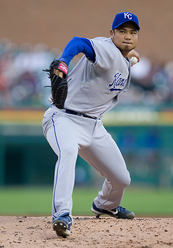 August 23, 2010: Kansas City Royals starting pitcher Bruce Chen (#52) delivers pitch during game action between the Kansas City Royals and the Detroit Tigers at Comerica Park in Detroit, Michigan.  The Tigers defeated the Royals 12-3..