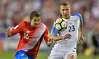 Harrison, N.J. - Friday September 01, 2017:  Cristian Gamboa, Fabian Johnson during a 2017 FIFA World Cup Qualifying (WCQ) round match between the men's national teams of the United States (USA) and Costa Rica (CRC) at Red Bull Arena.