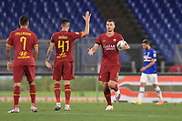 Edin Dzeko of Roma celebrates after scoring a goal with Roger Ibanez and Lorenzo Pellegrini<br /> during the Serie A football match between AS Roma and UC Sampdoria at Olimpico stadium in Rome ( Italy ), June 24th, 2020. Play resumes behind closed doors following the outbreak of the coronavirus disease. <br /> Photo Andrea Staccioli / Insidefoto