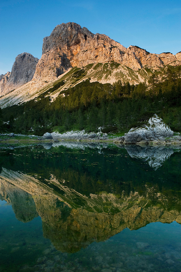 First Double Lake (Dvojno jezero) with Mount Ticarica<br /> Triglav National Park, Slovenia<br /> August 2009