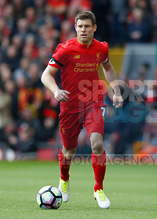 James Milner of Liverpool during the English Premier League match at Anfield Stadium, Liverpool. Picture date: April 1st 2017. Pic credit should read: Simon Bellis/Sportimage