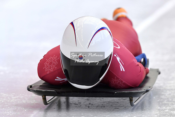 Sophia Jeong (KOR). Skeleton training. Alpensia sliding centrePyeongchang2018 winter Olympics. Alpensia. Republic of Korea. 13/02/2018. ~ MANDATORY CREDIT Garry Bowden/SIPPA - NO UNAUTHORISED USE - +44 7837 394578