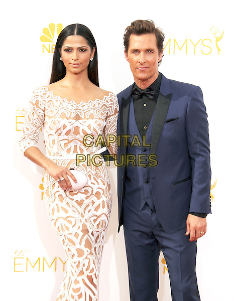 LOS ANGELES, CA- AUGUST 25: Actor Matthew McConaughey (R) and model/wife Camila Alves arrive at the 66th Annual Primetime Emmy Awards at Nokia Theatre L.A. Live on August 25, 2014 in Los Angeles, California.<br /> CAP/ROT/TM<br /> &copy;Tony Michaels/Roth Stock/Capital Pictures