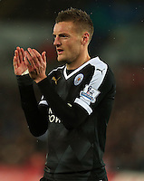 Jamie Vardy of Leicester City applauds a team mate during the Barclays Premier League match between Swansea City and Leicester City played at The Liberty Stadium on 5th December 2015