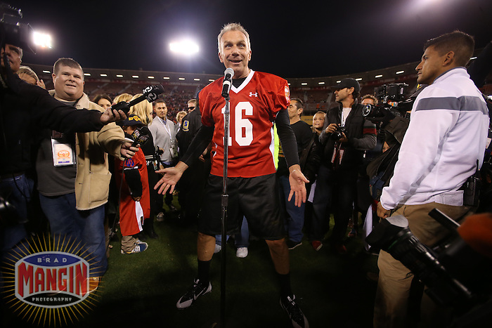 SAN FRANCISCO, CA - JULY 12:  Former San Francisco 49ers great Joe Montana addresses the crowd at midfield after the Legends of Candlestick flag football game at Candlestick Park in San Francisco, California on July 12, 2014. Photo by Brad Mangin