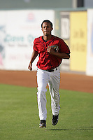 April 17, 2010: Leandro Cespedes of the Lancaster JetHawks before game against the Rancho Cucamonga Quakes at Clear Channel Stadium in Lancaster,CA.  Photo by Larry Goren/Four Seam Images