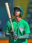 30 June 2012: Vermont Lake Monsters infielder Jensi Peralta awaits his turn in the batting cage prior to a game against the Lowell Spinners at Centennial Field in Burlington, Vermont. Mandatory Credit: Ed Wolfstein Photo