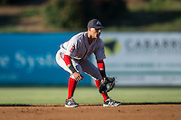 Greenville Drive shortstop Jeremy Rivera (35) on defense against the Kannapolis Intimidators at Intimidators Stadium on June 8, 2016 in Kannapolis, North Carolina.  The Intimidators defeated the Drive 3-2.  (Brian Westerholt/Four Seam Images)