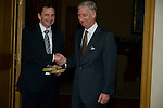 King Philippe of Belgium receives the Belgian champion table tennis player Jean-Michel Saive who decided to end his career, Brussels 5 january 2016, Belgium