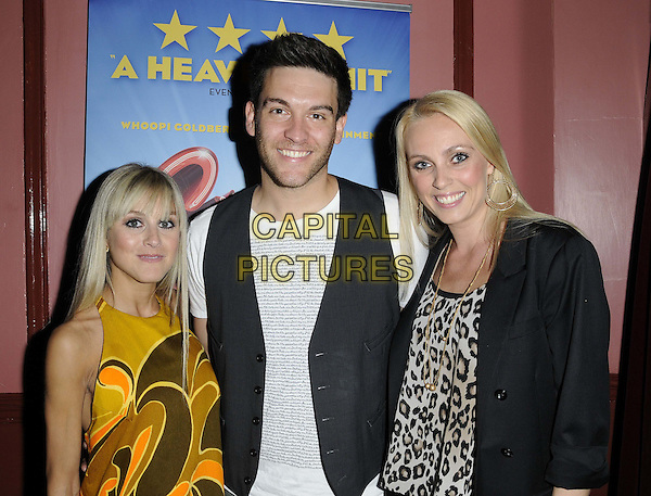 Nikki Grahame, Kevin Sacre & Camilla Dallerup.The 'Sister Act: The Musical' touring production press night, New Wimbledon Theatre, The Broadway, London, England..June 6th, 2012.half length dress leopard print top blazer waistcoat white top yellow brown sleeveless pattern print .CAP/CAN.©Can Nguyen/Capital Pictures.