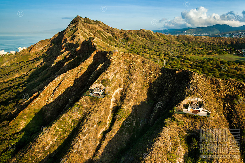 An aerial view of Diamond Head Crater with bunkers built during WWII, East Honolulu, O'ahu.