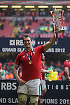 Wales capatian Sam Warburton holds aloft the 6 Nations trophy after securing the Grand Slam with victory over France..RBS 6 Nations 2012.Wales v France.Millennium Stadium.17.03.12..CREDIT: STEVE POPE-SPORTINGWALES