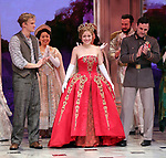 "Christy Altomare and Max von Essen with Cody Simpson making his Broadway Debut Bows in ""Anastasia"" at the Broadhurst Theatre on November 29, 2018 in New York City."