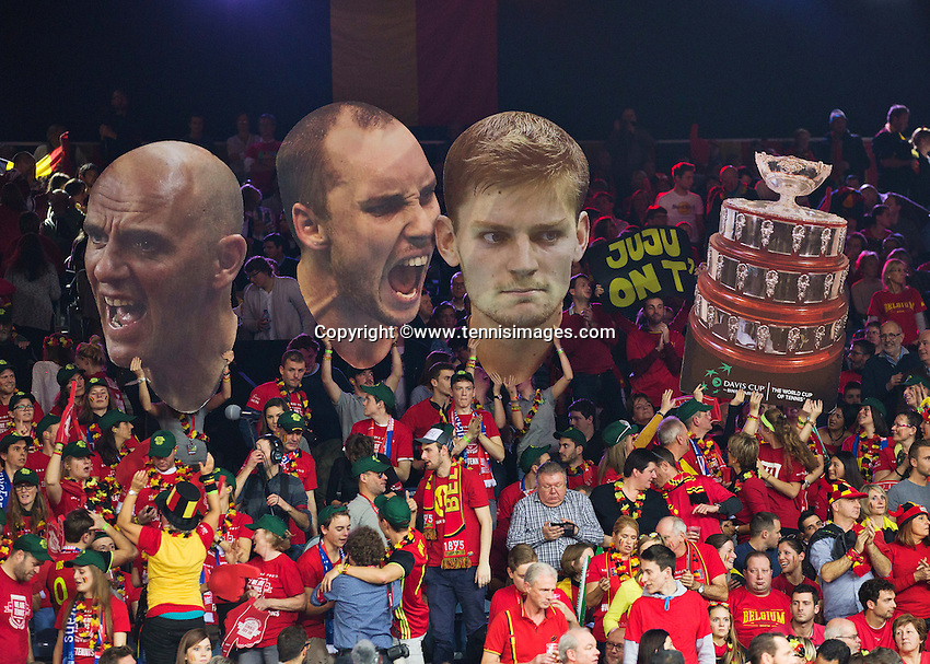 Gent, Belgium, November 28, 2015, Davis Cup Final, Belgium-Great Britain, day two, doubles match, Giant posters of the Belgium players Darcis and Goffin and the Davis Cup are displayed by Belgian fans<br /> Photo: Tennisimages/Henk Koster