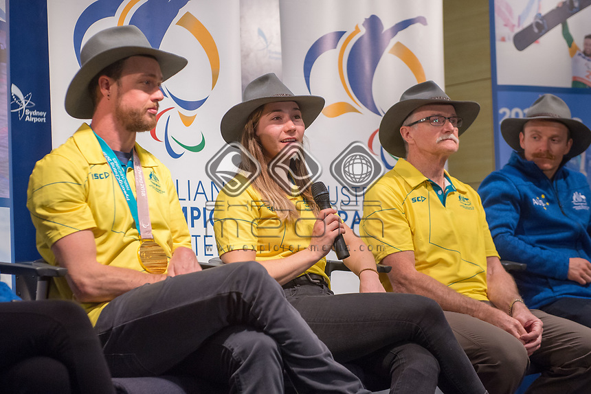 Welcome home / Press Conference / Joany Badenhorst<br /> PyeongChang 2018 Paralympic Games<br /> Australian Paralympic Committee<br /> Sydney International Airport<br /> PyeongChang South Korea<br /> Tuesday March 20th 2018<br /> &copy; Sport the library / Jeff Crow