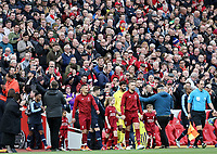 Liverpool's Jordan Henderson leads his side out onto the pitch in front of the fans at Anfield <br /> <br /> Photographer Rich Linley/CameraSport<br /> <br /> The Premier League - Liverpool v Manchester City - Sunday 7th October 2018 - Anfield - Liverpool<br /> <br /> World Copyright &copy; 2018 CameraSport. All rights reserved. 43 Linden Ave. Countesthorpe. Leicester. England. LE8 5PG - Tel: +44 (0) 116 277 4147 - admin@camerasport.com - www.camerasport.com