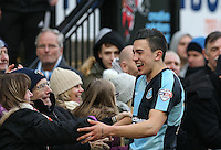 Luke O'Nien of Wycombe Wanderers celebrates victory during the Sky Bet League 2 match between Wycombe Wanderers and Bristol Rovers at Adams Park, High Wycombe, England on 27 February 2016. Photo by Andrew Rowland.