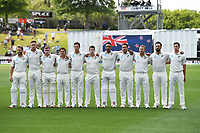 29th November 2019, Hamilton, New Zealand;  NZ Black Caps line up for the national anthems on day 1 of the 2nd international cricket test match between New Zealand and England at Seddon Park, Hamilton, New Zealand. Friday 29 November 2019