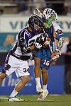 San Francisco Dragons vs Los Angeles Riptide.Lebard Stadium, Orange Coast College,Huntington Beach, California.Wes Green (#16) and Mike Podgajny (# 34).506P1070.JPG.CREDIT: Dirk Dewachter