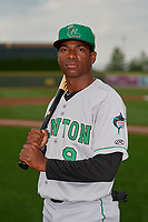 Clinton LumberKings Thomas Jones (9) poses for a photo before a Midwest League game against the Great Lakes Loons on July 19, 2019 at Dow Diamond in Midland, Michigan.  Clinton defeated Great Lakes 3-2.  (Mike Janes/Four Seam Images)