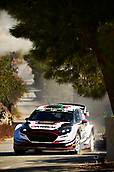 6th October 2017, Costa Daurada, Salou, Spain; FIA World Rally Championship, RallyRACC Catalunya, Spanish Rally; Elfyn Evans and his co-driver Daniel Barritt of Great Britain compete in their M Sport World Rally Team Ford Fiesta WRC during the Terra Alta Stage