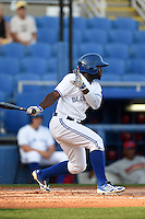 Dunedin Blue Jays outfielder Roemon Fields (2) at bat during a game against the Clearwater Threshers on April 10, 2015 at Florida Auto Exchange Stadium in Dunedin, Florida.  Clearwater defeated Dunedin 2-0.  (Mike Janes/Four Seam Images)