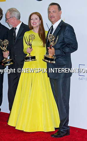 "JULIANNE MOORE AND TOM HANKS (Game Change) - 64TH PRIME TIME EMMY AWARDS.Nokia Theatre Live, Los Angelees_23/09/2012.Mandatory Credit Photo: ©Dias/NEWSPIX INTERNATIONAL..**ALL FEES PAYABLE TO: ""NEWSPIX INTERNATIONAL""**..IMMEDIATE CONFIRMATION OF USAGE REQUIRED:.Newspix International, 31 Chinnery Hill, Bishop's Stortford, ENGLAND CM23 3PS.Tel:+441279 324672  ; Fax: +441279656877.Mobile:  07775681153.e-mail: info@newspixinternational.co.uk"