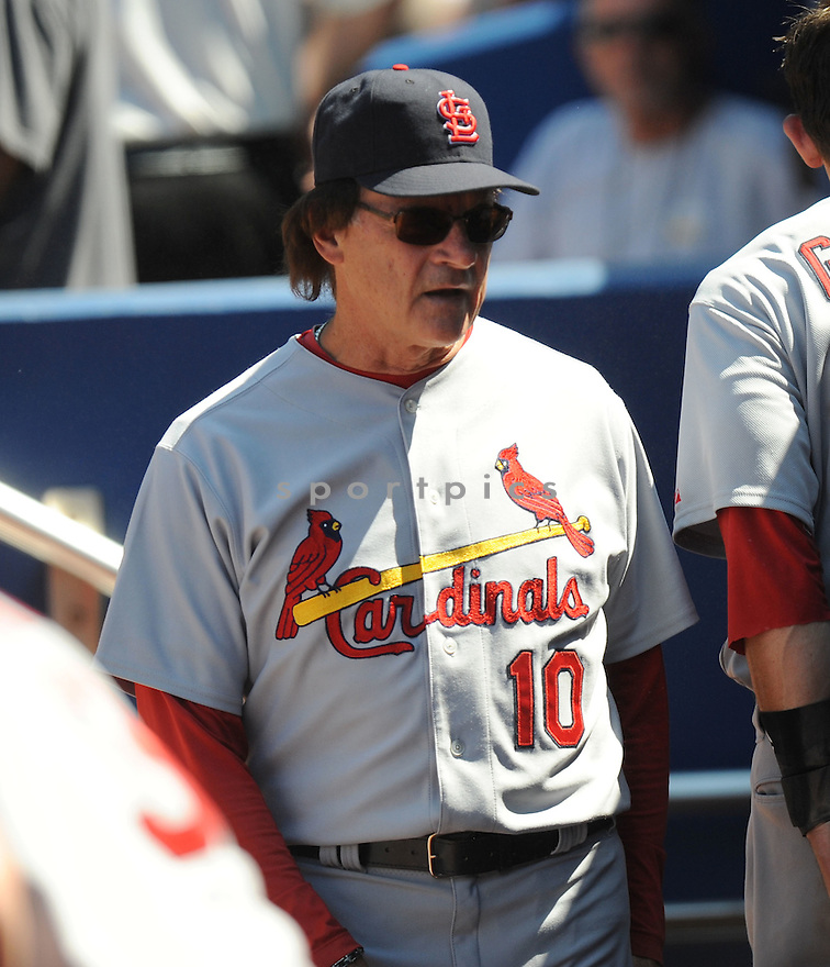 TONY LARUSSA, of the St. Louis Cardinals, in action during the Cardinals game against the Atlanta Braves on April 30, 2011 at Turner Field in Atlanta, Georgia. The Cardinals beat the Braves 3-2.