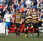 Jonathan Tiffoney celebrates his goal for Alloa against Rangers