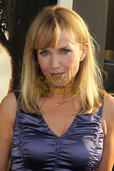 REBECCA DE MORNAY.The Los Angeles Premiere of 'Flipped,'  at the Cinerama Dome/Arclight Theater. Hollywood, CA, USA..July 26, 2010.headshot portrait purple ruched silk satin sleeveless .CAP/CEL.©CelPh/Capital Pictures...