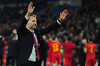 Ryan Giggs Manager of Wales celebrates at full time during the UEFA Euro 2020 Group E Qualifier match between Wales and Hungary at the Cardiff City Stadium in Cardiff, Wales, UK. Tuesday 19th November 2019