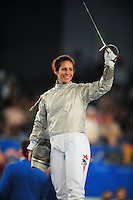 Aug. 9, 2008; Beijing, CHINA; Sada Jacobson (USA) during the womens fencing individual sabre semi final at the Fencing Hall in the 2008 Beijing Olympic Games. Mandatory Credit: Mark J. Rebilas-