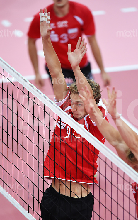Volleyball 1. Bundesliga  Saison  2014/2015 Testspiel 10.09.2014 in Tuebingen TV Rottenburg  - SV Fellbach Lars Wilmsen (TV Rottenburg)