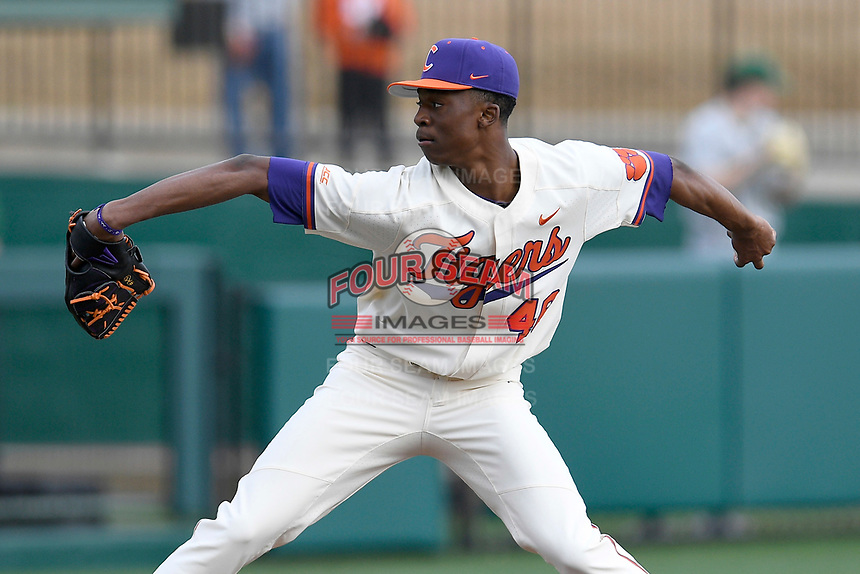 Starting pitcher Keyshawn Askew (46) of the Clemson Tigers delivers a pitch in a game against the Charlotte 49ers on Monday, February 18, 2019, at Doug Kingsmore Stadium in Clemson, South Carolina. Clemson won, 7-6. (Tom Priddy/Four Seam Images)
