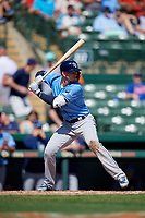 Tampa Bay Rays shortstop Daniel Robertson (28) at bat during a Grapefruit League Spring Training game against the Baltimore Orioles on March 1, 2019 at Ed Smith Stadium in Sarasota, Florida.  Rays defeated the Orioles 10-5.  (Mike Janes/Four Seam Images)