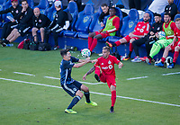 CARSON, CA - FEBRUARY 15: Sacha Kljestan #16 of the Los Angeles Galaxy and Auro Jr. #96 of Toronto FC battles for a ball during a game between Toronto FC and Los Angeles Galaxy at Dignity Health Sports Park on February 15, 2020 in Carson, California.