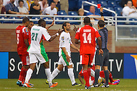 7 June 2011: Guadeloupe defender Mickael Tacalfred (22) gets a red card from referee Marlon Mejia during the CONCACAF soccer match between Panama and Guadeloupe at Ford Field Detroit, Michigan.